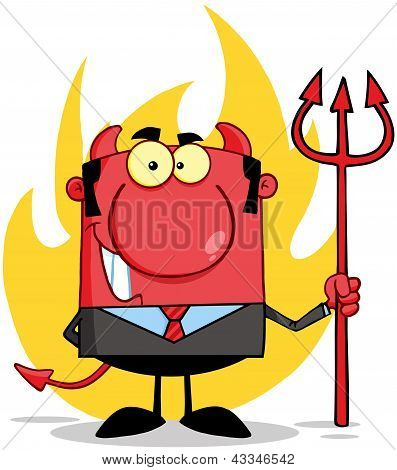 Smiling Devil Boss With A Trident In Front Of Flames