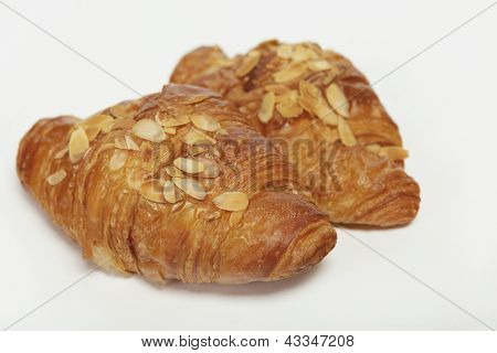 two times croissant with almond splinter