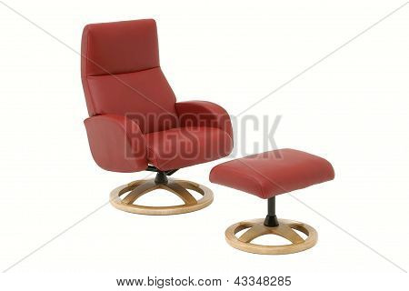 Red Armchair With Leg Rest.
