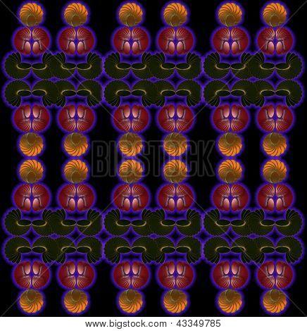 nahtlose Farbe Abstrakte Komposition mit einem Neon-Geometrica Figuren auf schwarzem Hintergrund.