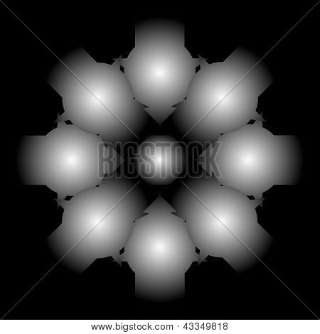 Color Abstract Composition With A Gray Balls And On A Black Background