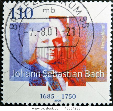 A Stamp printed in the Germany shows portrait of the composer Johann Sebastian Bach