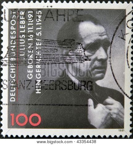 A stamp printed in Germany shows Julius Leber