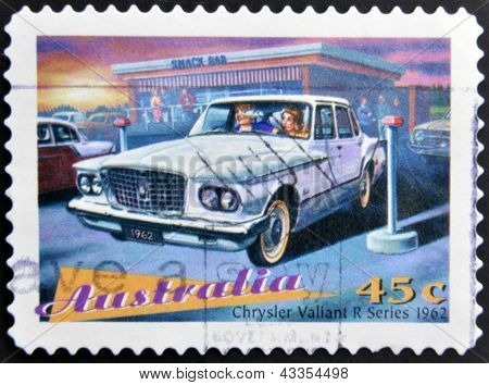 stamp printed in Australia shows Classic Cars Chrysler Valiant