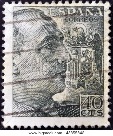 A stamp printed in Spain shows Francisco Franco