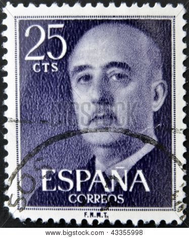 A stamp printed in the Spain shows Gen. Francisco Franco