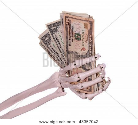 Dollars In Skeleton Hand