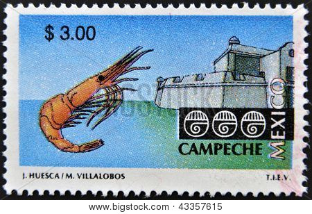 A stamp printed in Mexico shows strength and shrimp associated with the state and city of Campeche