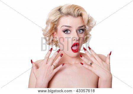 Shocked Retro Blond Beauty  - Isolated On White