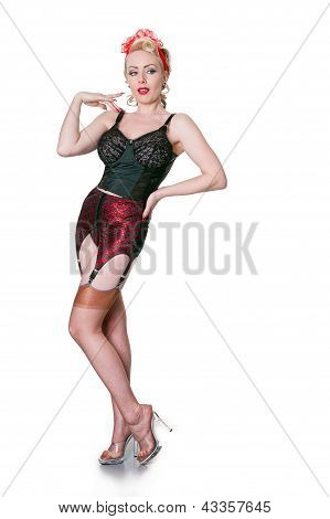 Fifties Style Blond In Vintage Lingerie Glancing - Isolated On White