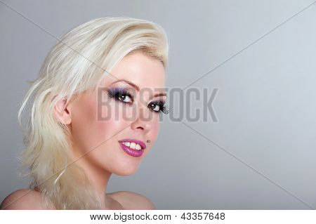 Beautiful Blond Woman With Piercing
