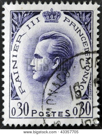 A stamp printed in Monaco shows Rainier III Prince of Monaco