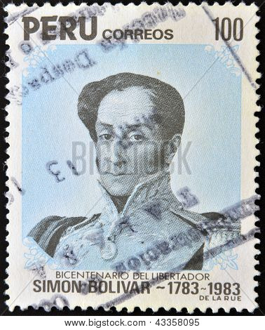 Stamp printed in Peru shows portrait general Simon Bolivar -liberator
