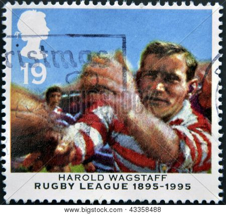 stamp printed in the Great Britain shows Harold Wagstaff Centenary of Rugby League