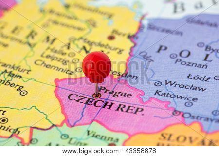 Red Pushpin On Map Of Czech Republic