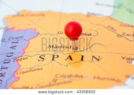 Red Pushpin On Map Of Spain