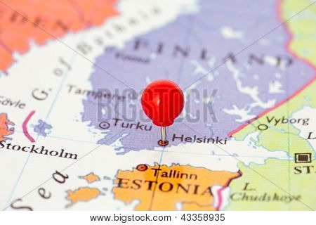 Red Pushpin On Map Of Finland