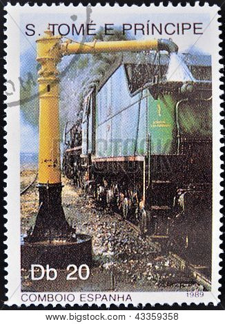 A stamp printed in Sao Tome shows a train fueling