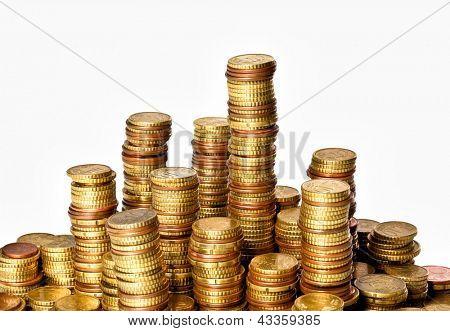 golden euro coin cents piles