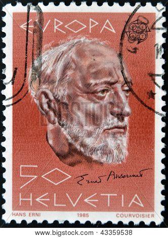 stamp printed in Switzerland shows Ernest Ansermet