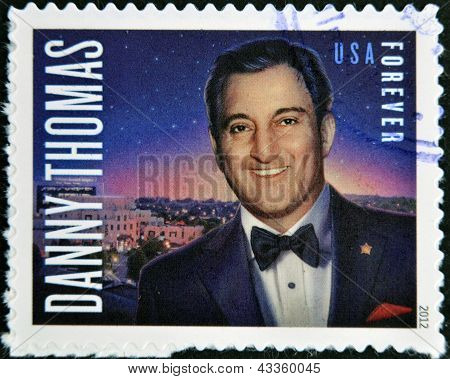 A stamp printed in USA shows Danny Thomas