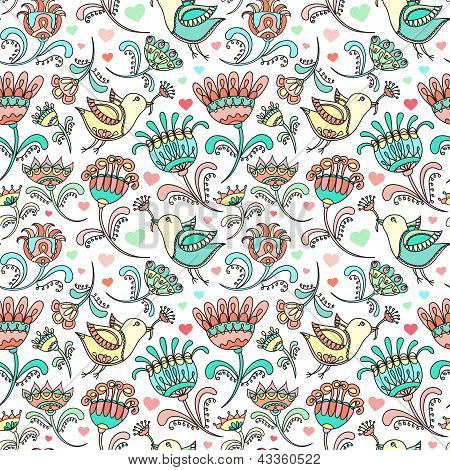 Beautiful Bird Doodle On White Floral Spring Love Vector Seamless Pattern Background Wallpaper For T