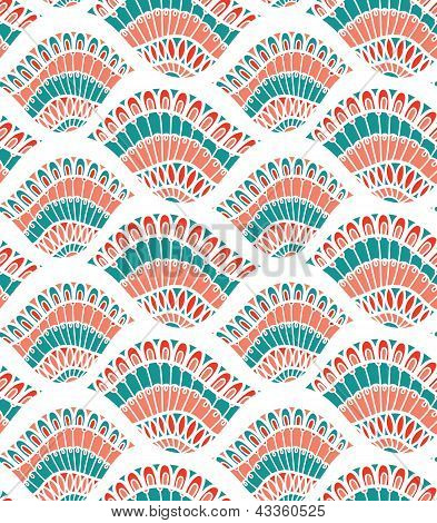 Leaf Shell Seamless Vector Pattern Wallpaper Background Cover Pink Blue White For Textile And Interi