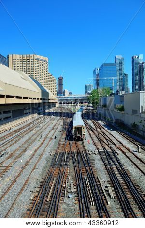 TORONTO, CANADA - JULY 3: Subway with rails on July 3 in Toronto, Canada. 2012. Operated by Government of Ontario in Great Toronto, it carries over 217,000 passengers weekday and 57 M annually.