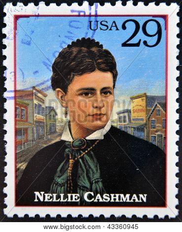 Carimbo imprimido nos EUA mostra Nellie Cashman (também Ellen)