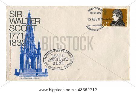 UK - CIRCA 1971: A stamp printed in UK shows image of the Sir Walter Scott, circa 1971.