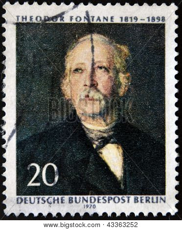 GERMANY - CIRCA 1970: A stamp printed in Germany shows Theodore Fontane, circa 1970