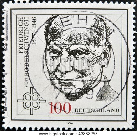 a stamp printed in the Germany shows Friedrich von Bodelschwingh Protestant Theologian