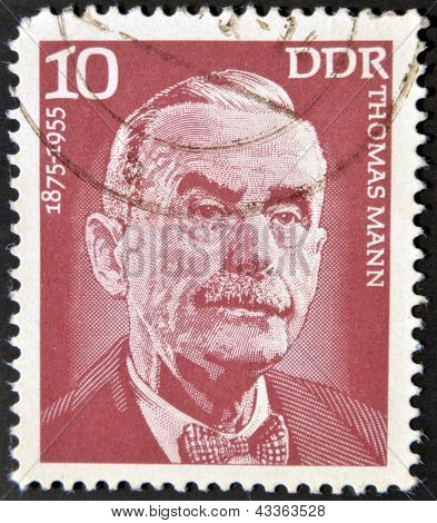 A stamp printed in GDR (East Germany) shows Thomas Mann