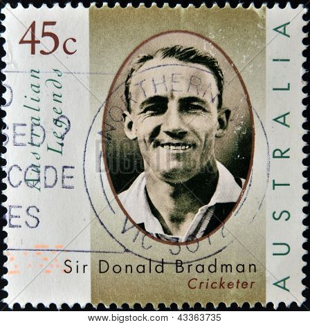 A stamp printed in Australia dedicated to australian legends, shows Sir Donald Bradman, cricketer