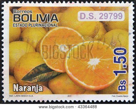 BOLIVIA - CIRCA 2011: A stamp printed in Bolivia shows oranges, circa 2011