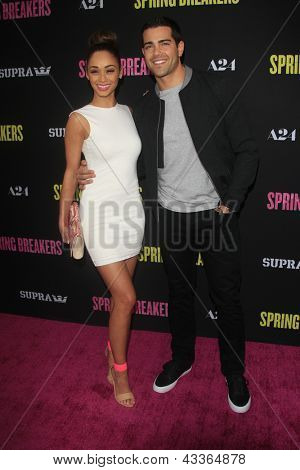 LOS ANGELES - MAR 14:  Cara Santana, Jesse Metcalfe arrives at the 'Spring Breakers