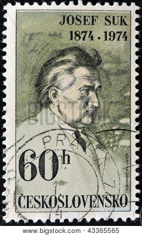 CZECHOSLOVAKIA - CIRCA 1974: A stamp printed in Czechoslovakia, shows composer Josef Suk, circa 1974