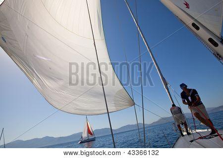 SARONIC GULF, GREECE - SEPTEMBER 26: Unidentified sailor participates in sailing regatta