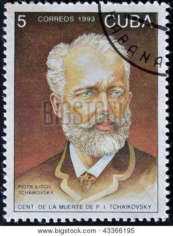 CUBA - CIRCA 1993: A stamp printed in Cuba shows russian musician Petr Tchaikovsky circa 1993