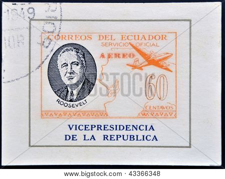 ECUADOR - CIRCA 1949: A stamp printed in Ecuador shows plane and President Roosevelt circa 1949