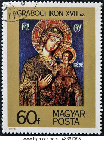 stamp printed in Hungary shows icon Mater of God with a child