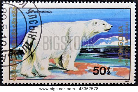 A stamp printed in Mongolia shows Ursus maritimus