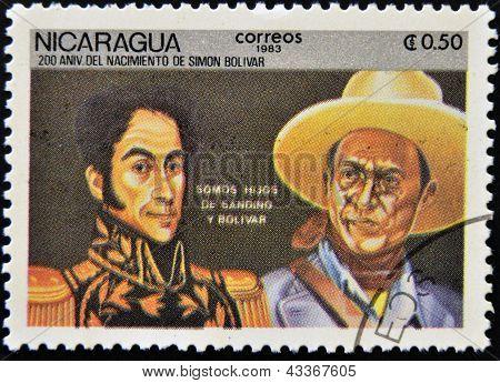 stamp printed in Nicaragua shows Simon Bolivar and Sandino