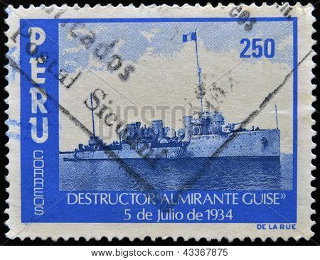 PERU - CIRCA 1974: A stamp printed in Peru shows destroyer
