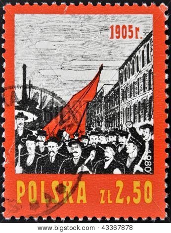 POLAND - CIRCA 1980: A stamp printed in Poland shows Working demonstration circa 1980