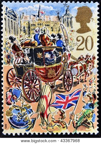 UNITED KINGDOM - CIRCA 1989: A stamp printed in Great Britain dedicated to Lord Mayor's Show, London
