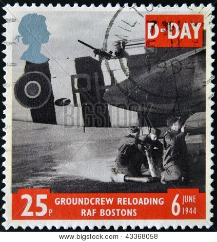 A stamp shows Ground Crew reloading FAF Bostons, 50th anniversary of D-Day