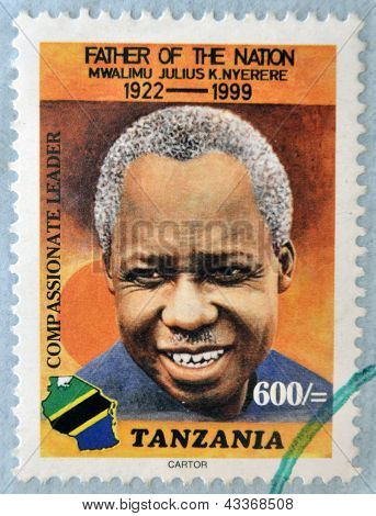 A stamp printed in Tanzania shows Julius Nyerere father of the nation