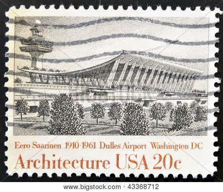A stamp printed in USA shows Dulles Airport by Eero Saarinen