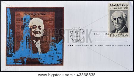 A postcard printed in USA shows Adolph S Ochs Portrait